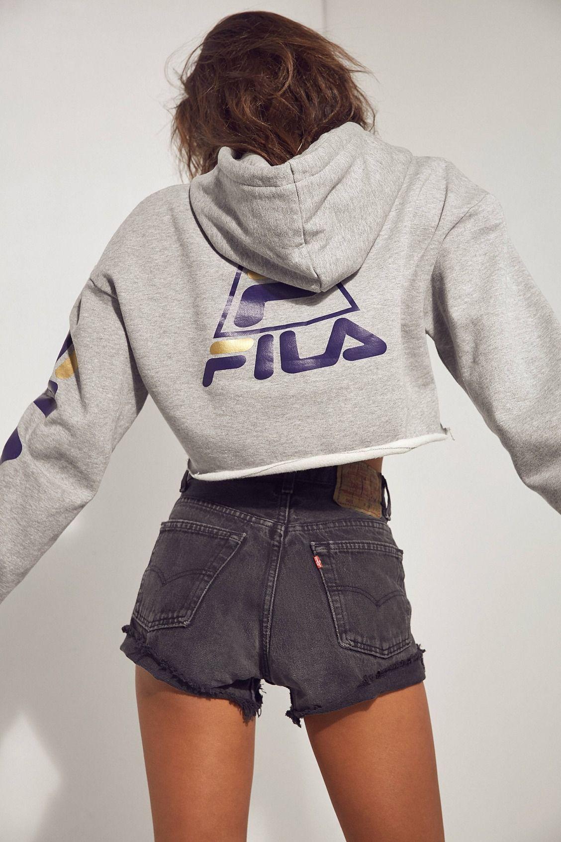 93565569b260b FILA + UO Basketball Cropped Hoodie Sweatshirt | Urban Outfitters ...