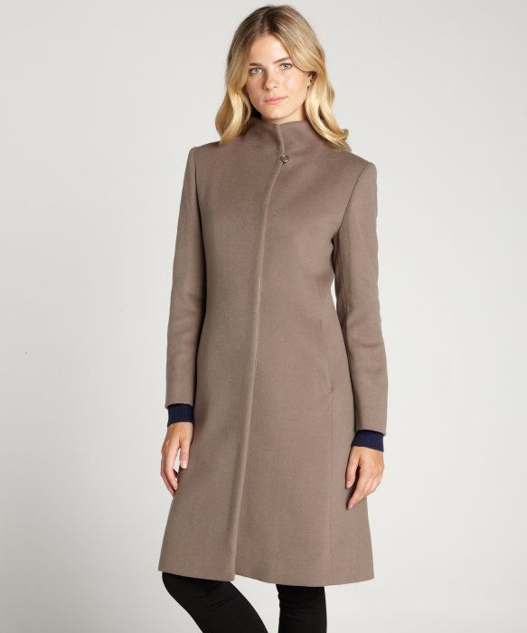 Cinzia Rocca mocha wool-cashmere standing collar long coat! Beautiful for a  beautiful girl