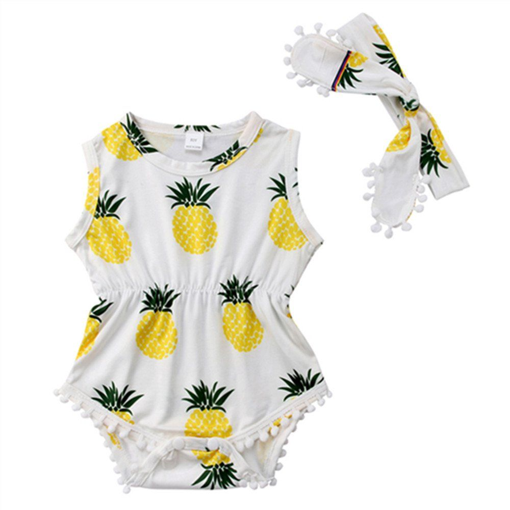 Newborn Infant Baby Girls Pineapple Print Sleeveless Romper Bodysuit Outfits
