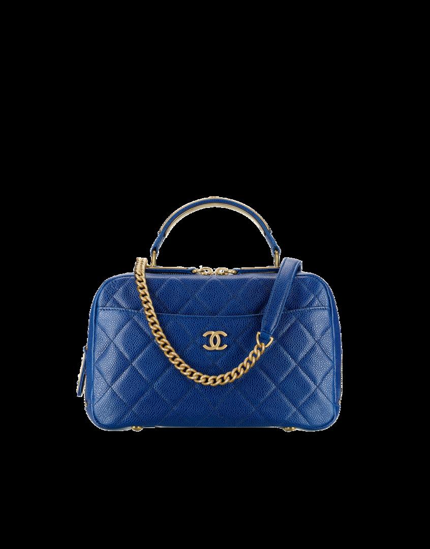 Flap bag, grained calfskin   ruthenium-tone metal-navy blue - CHANEL ... d9d8b22442