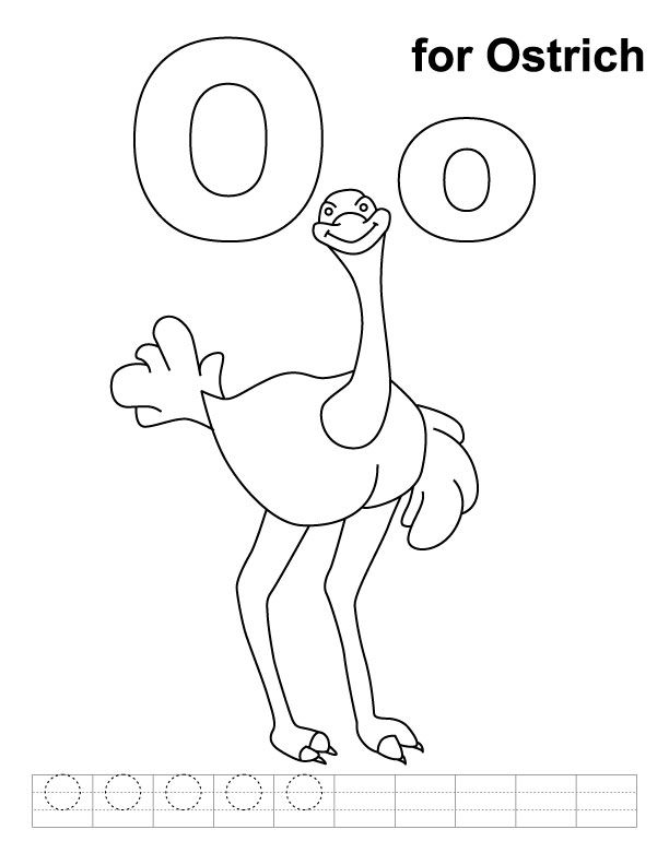 O For Ostrich Coloring Page With Handwriting Practice Kids