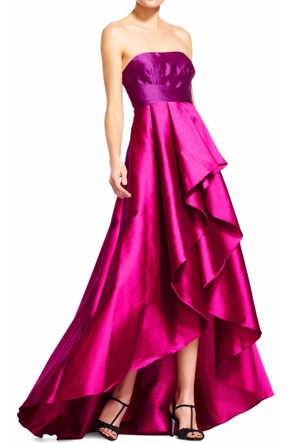 Adrianna Papell Strapless colorblock hi lo dress w ball skirt pink ...