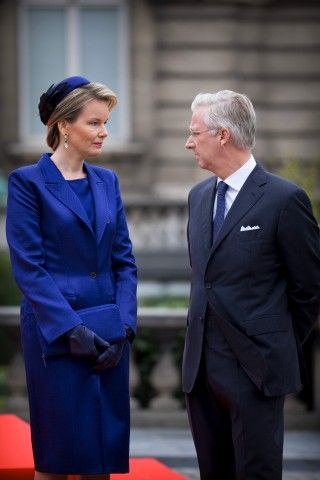 King Philippe and Queen Mathilde during an official welcome ceremony at the start of the Turkish State visit in Brussels, Belgium, 5 October 2015.