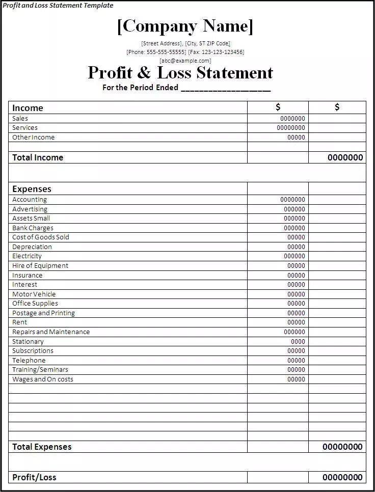 17 Profit Loss Statement Templates Download Free Formats In