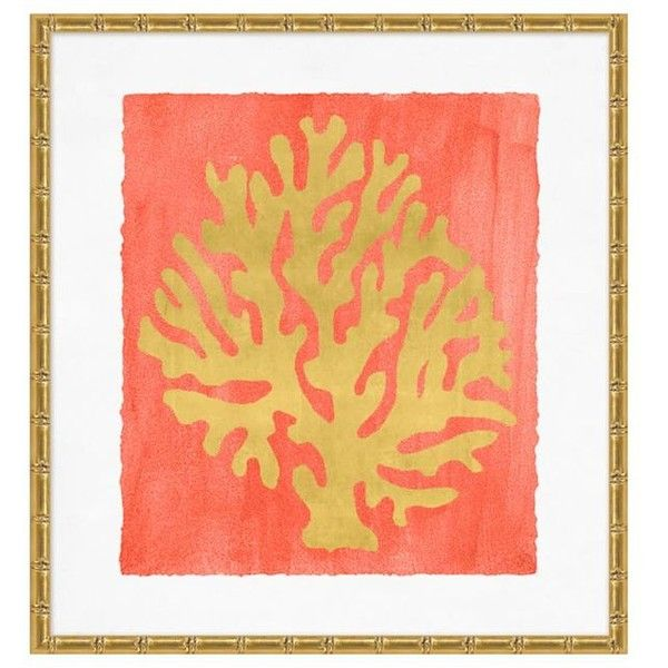Pottery Barn Gold Leaf Coral Framed Print 2 ($299) ❤ liked on ...