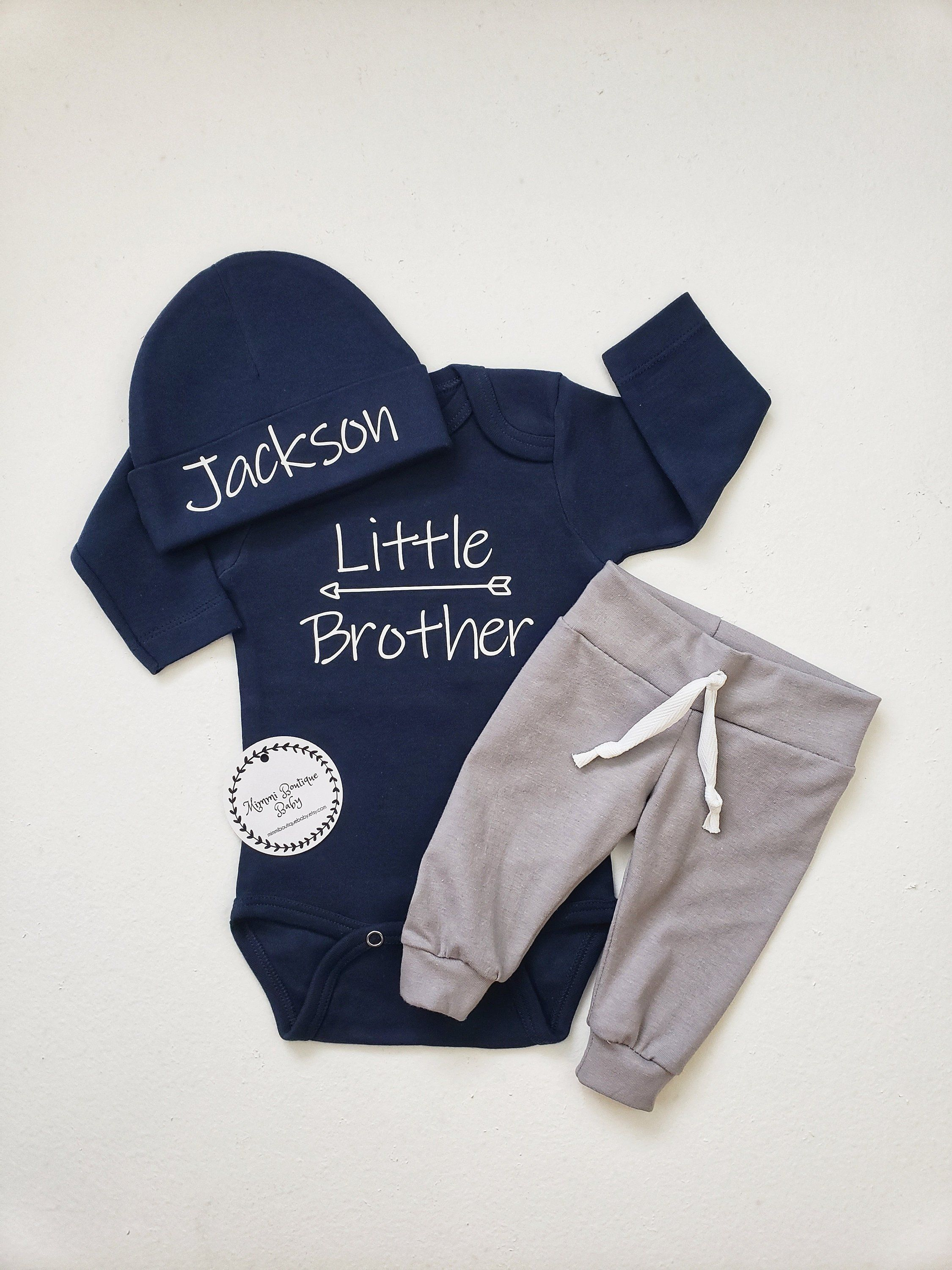 5451b74cb Personalized navy blue and gray little brother outfit. Baby boy, coming  home outfit. Baby boy joggers.