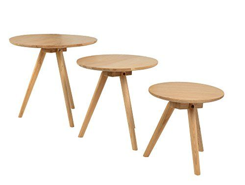 ts ideen 3er set design beistelltische rund eiche natur kaffeetisch couchtisch - Designer Couchtisch Tiefen See