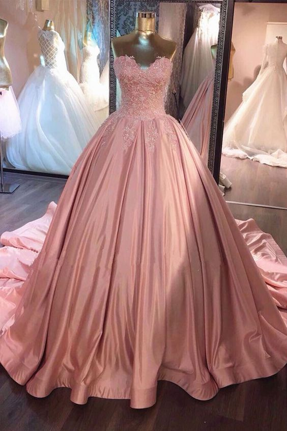 Pink sweetheart lace long prom gown, sweet 16 dress | Pinterest ...