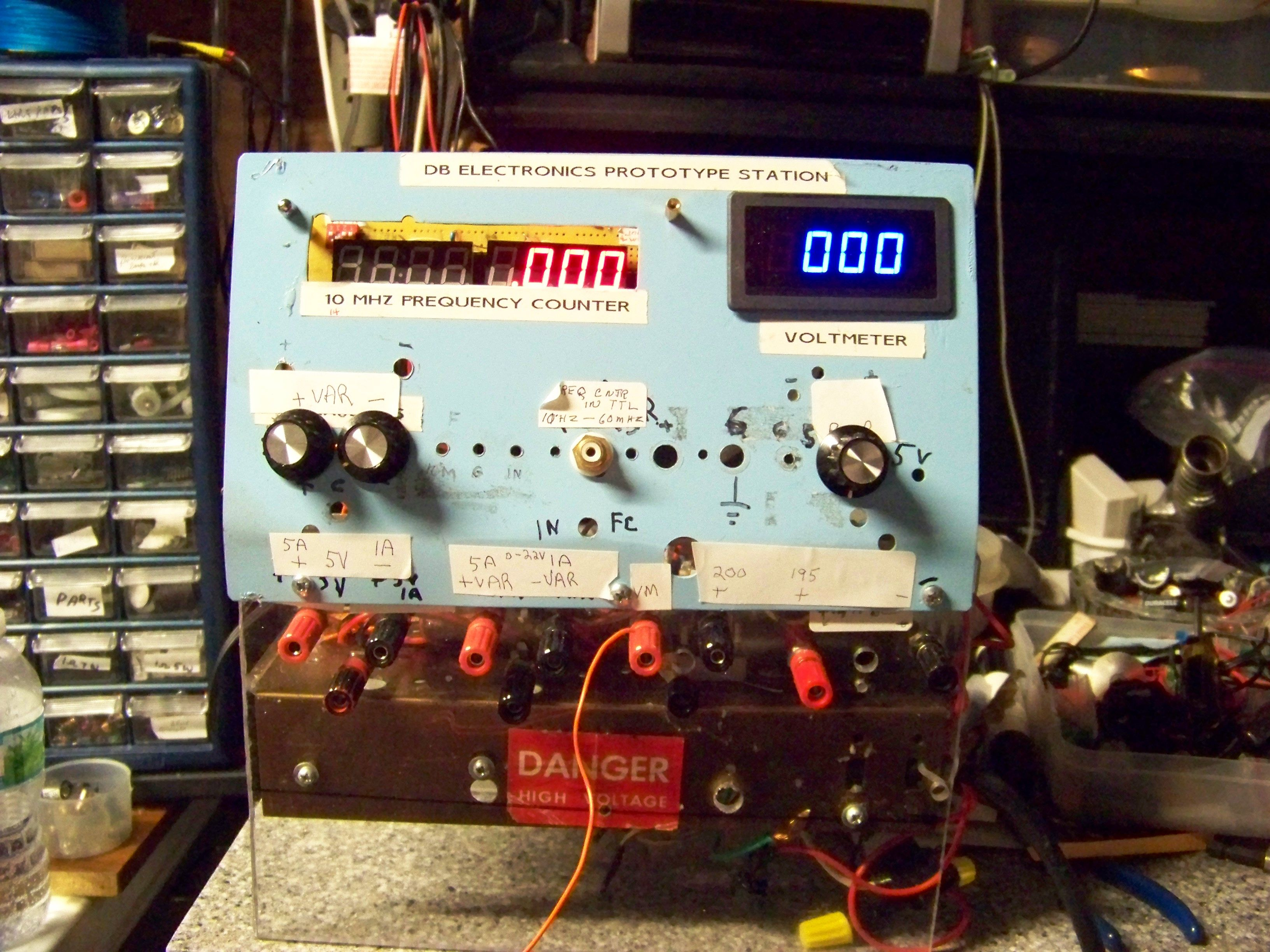 Prototype Power Station With Voltmeter And Freq Counter Electronic Voltmeters Electronics Projects Bench