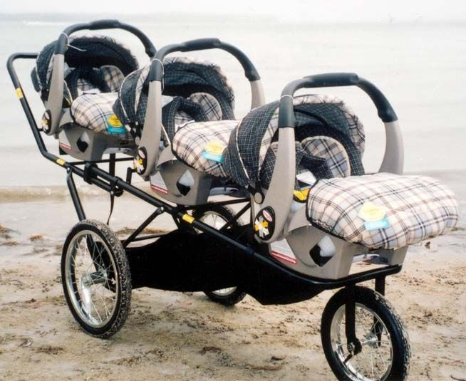 Triple Decker Stroller works with Graco car seats. Not much to ...