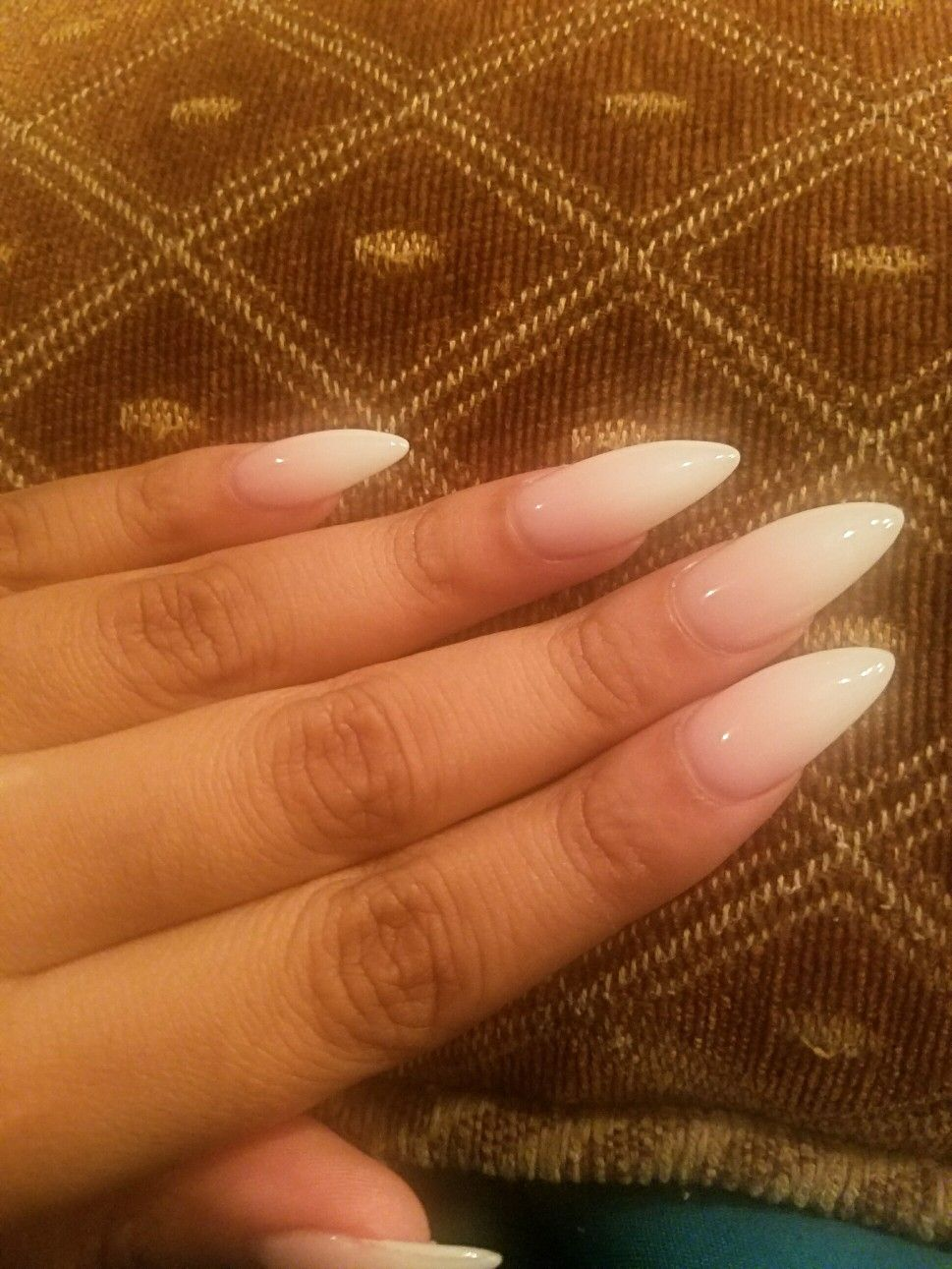 Almond Shaped Pink And White Ombre White Acrylic Nails Pink Ombre Nails Almond Acrylic Nails