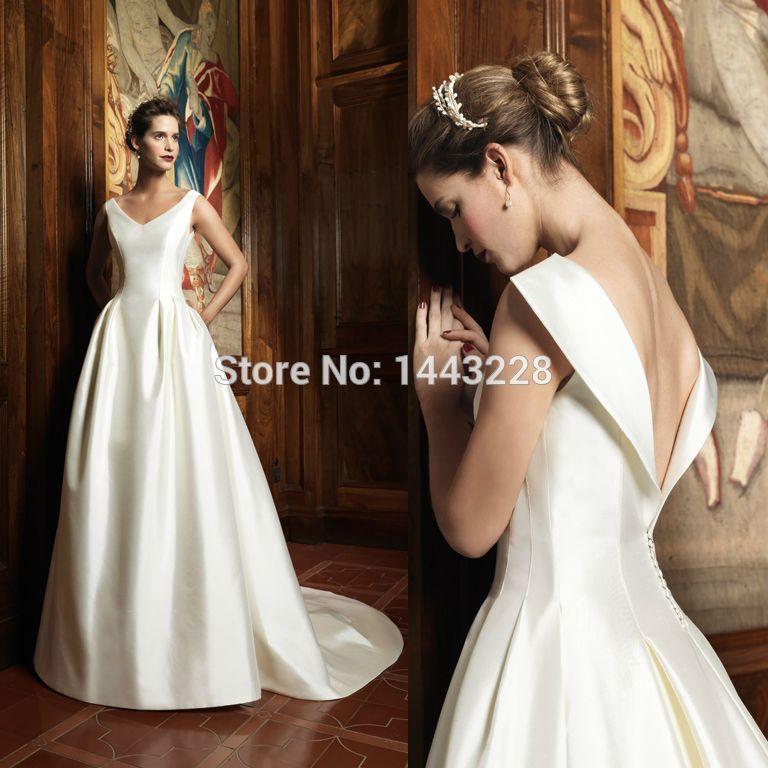 satin v neck tulle skirt wedding dress - Google Search | V neck ...