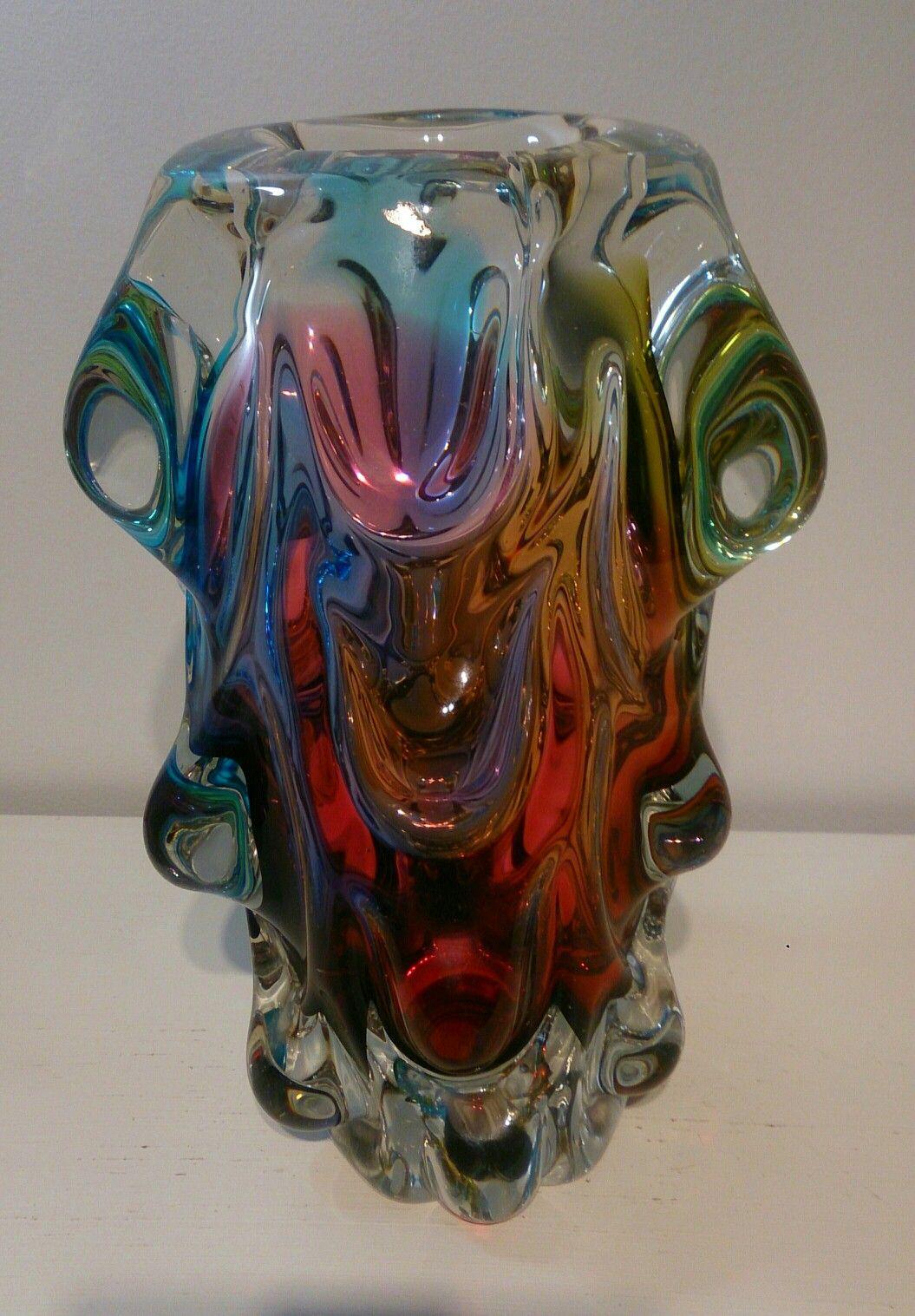 murano multi coloured knobbly vase