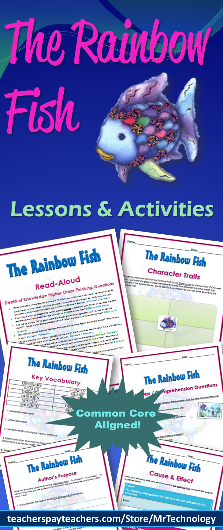 The rainbow fish interactive notebook reading lessons for Rainbow fish lesson plans