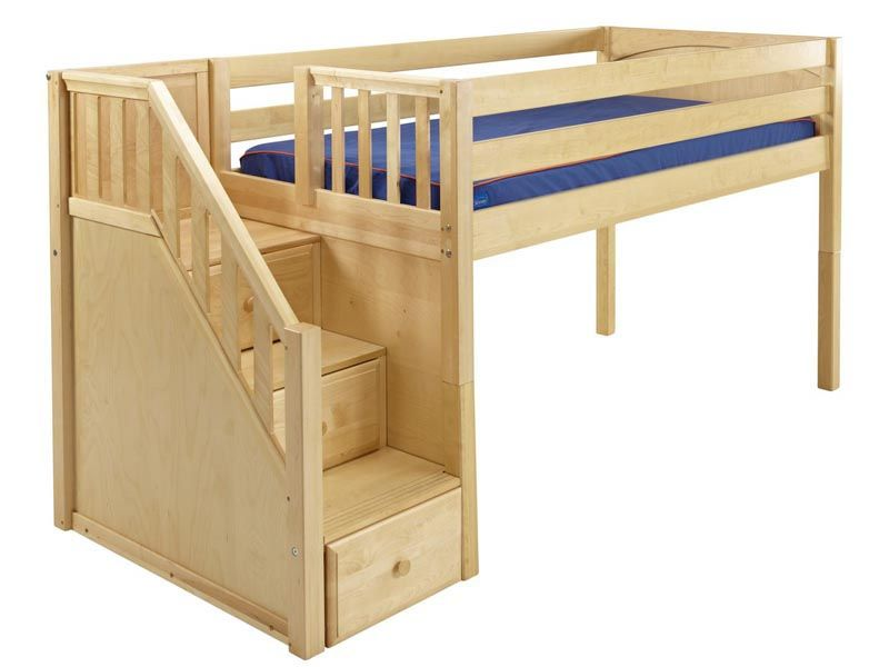 Maxtrix Kids Low Loft Bed with Stairs Big Girl Room