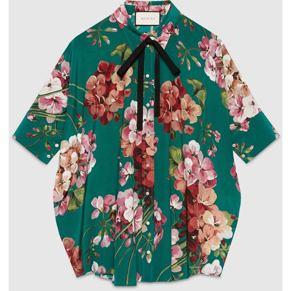 39cbf3f6 Gucci Blooms Print Silk Cape Shirt (9.372.350 IDR) ❤ liked on Polyvore