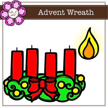 Advent Wreath Digital Clipart Color And Black White Clip Art Advent Wreath Digital Clip Art