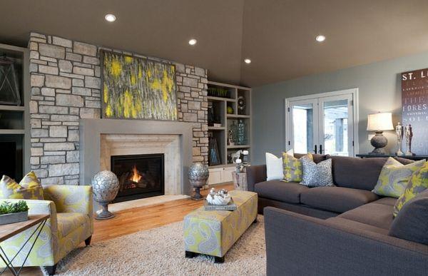 wohnzimmer farbgestaltung ? grau und gelb - wohnzimmer steinwand ... - Farbgestaltung Wohnzimmer Grau