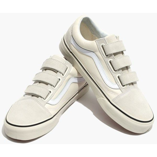 6ff19be10e MADEWELL Vans® Unisex Old Skool Velcro Sneakers in Marshmallow Canvas ( 75)  ❤ liked on Polyvore featuring shoes