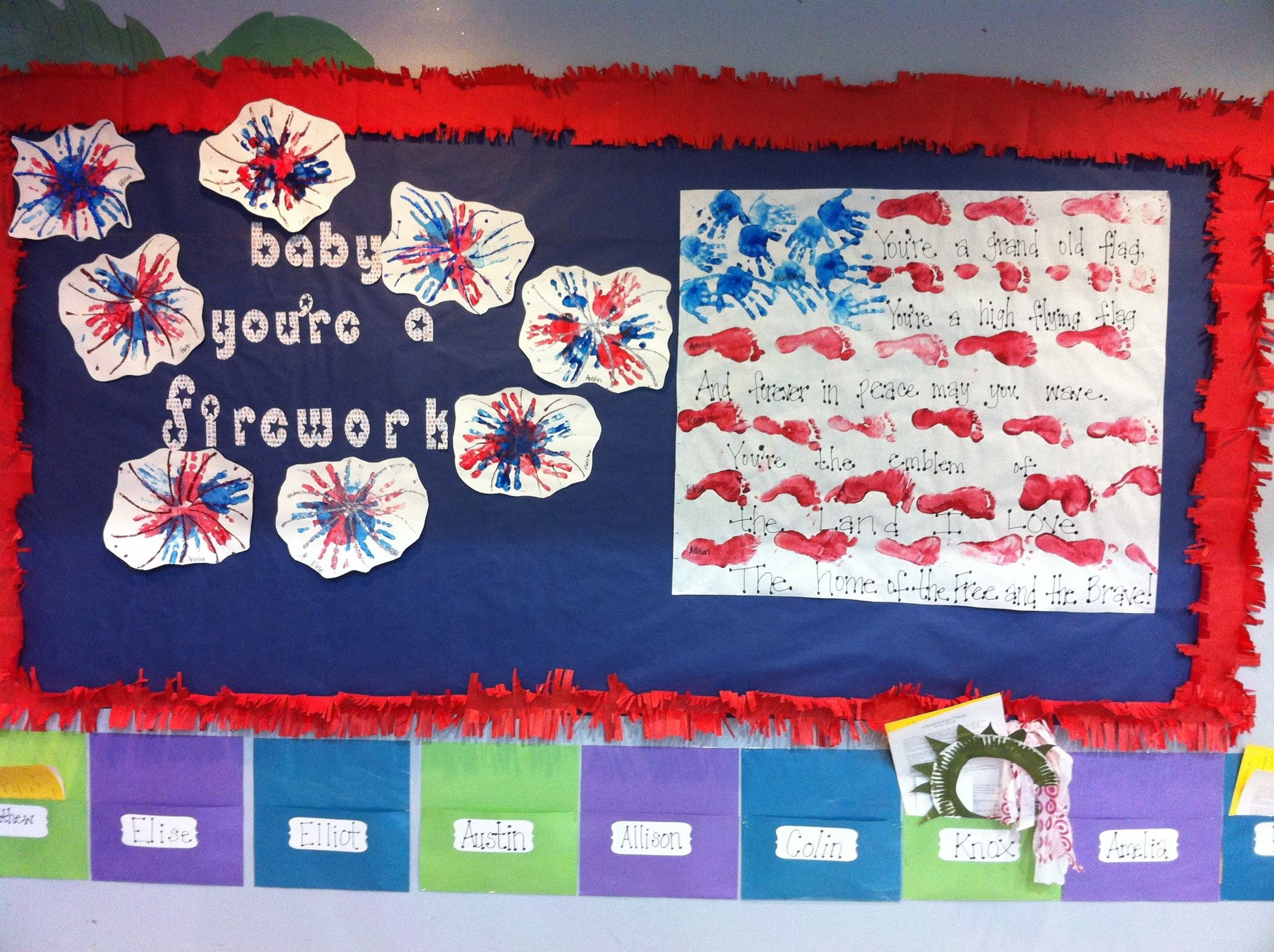 My Fourth of July preschool classroom bulletin board- hand ...