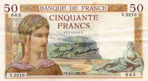 ancien billet de la banque de france