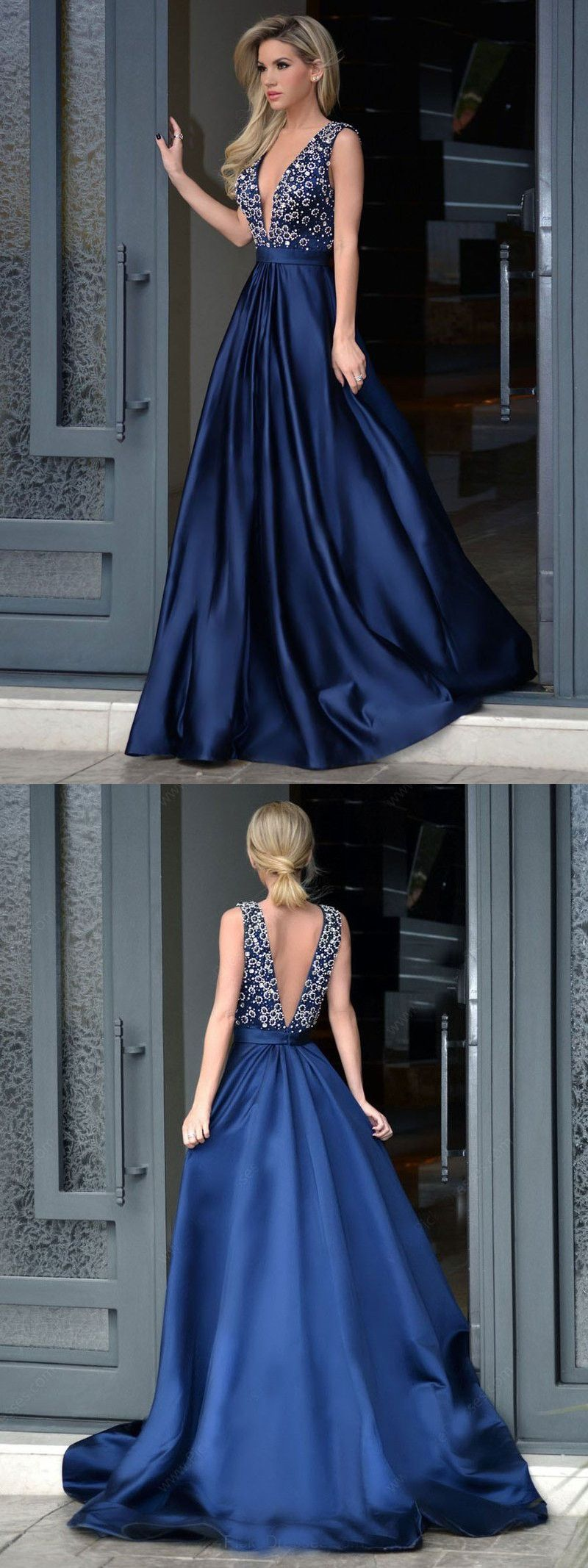 Navy blue long prom dress beads long prom dress formal