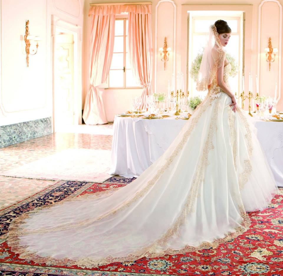 Italian Atelier Aimee Wedding Gown With Gold Highlights, I