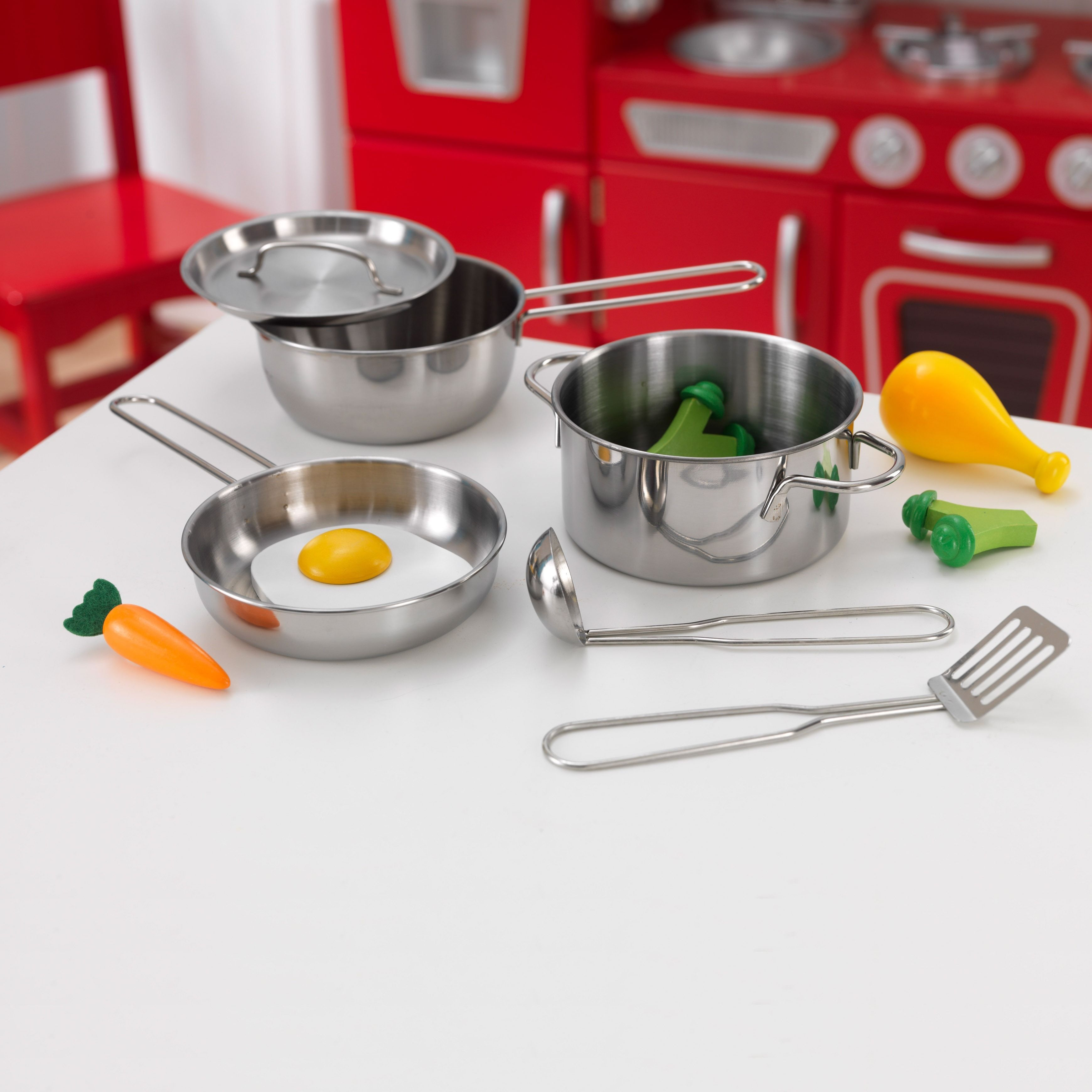 Kidkraft Metal Grey Pots Pans And Play Food Set For Little Chefs