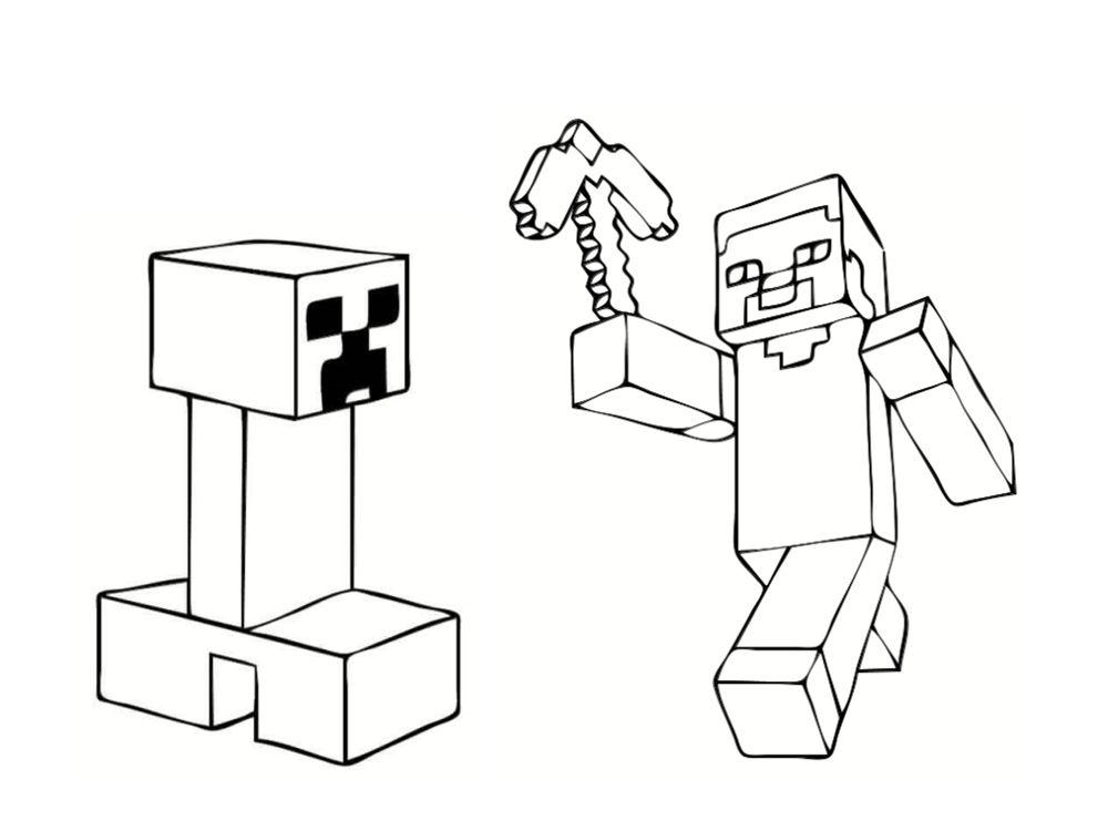 Раскраска скелет майнкрафт