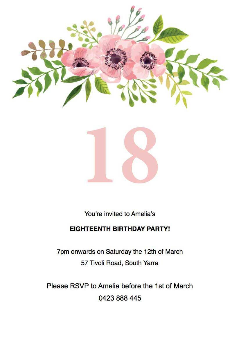 Image Result For Free Floral Birthday Invitations Invitation Card Birthday Party Invite Template Invitation Template