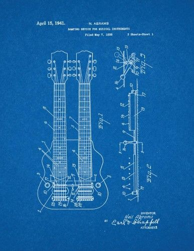 Damping Device for Musical Instruments Patent Print Art Poster - copy done up in blueprint blue lyrics