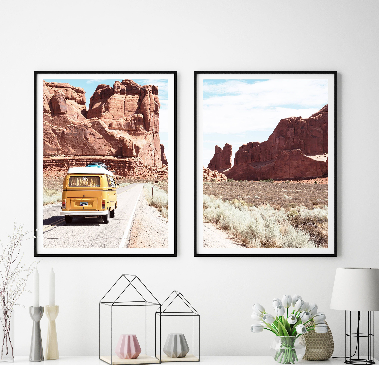 Set Of 2 Prints Retro Van Print Desert Wall Art Vw Automobile South Western Landscape Decor Printable Art Mid Century 354 Mit Bildern Wandkunst Western Landschaft Western Dekoration