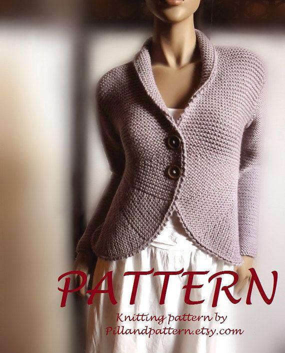 Women\'s blazer jacket knitting pattern knit buttoned cardigan ...