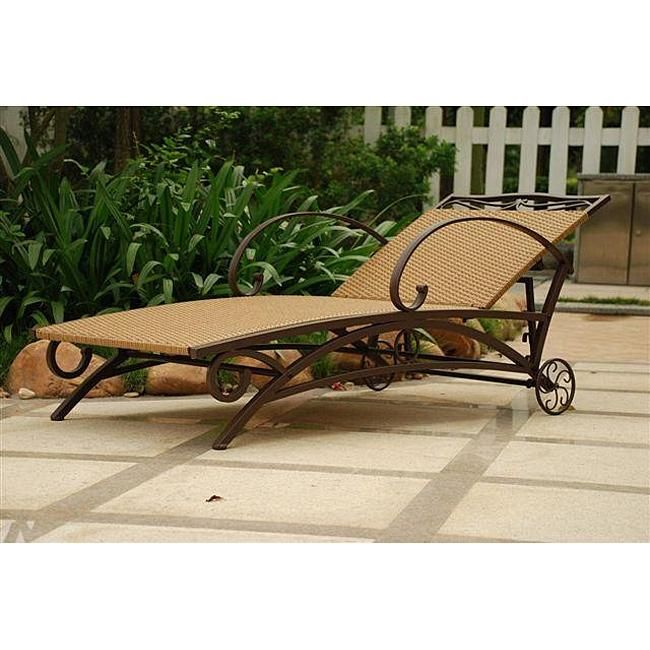 Resin Wicker Steel Multi Position Chaise Lounge Chair