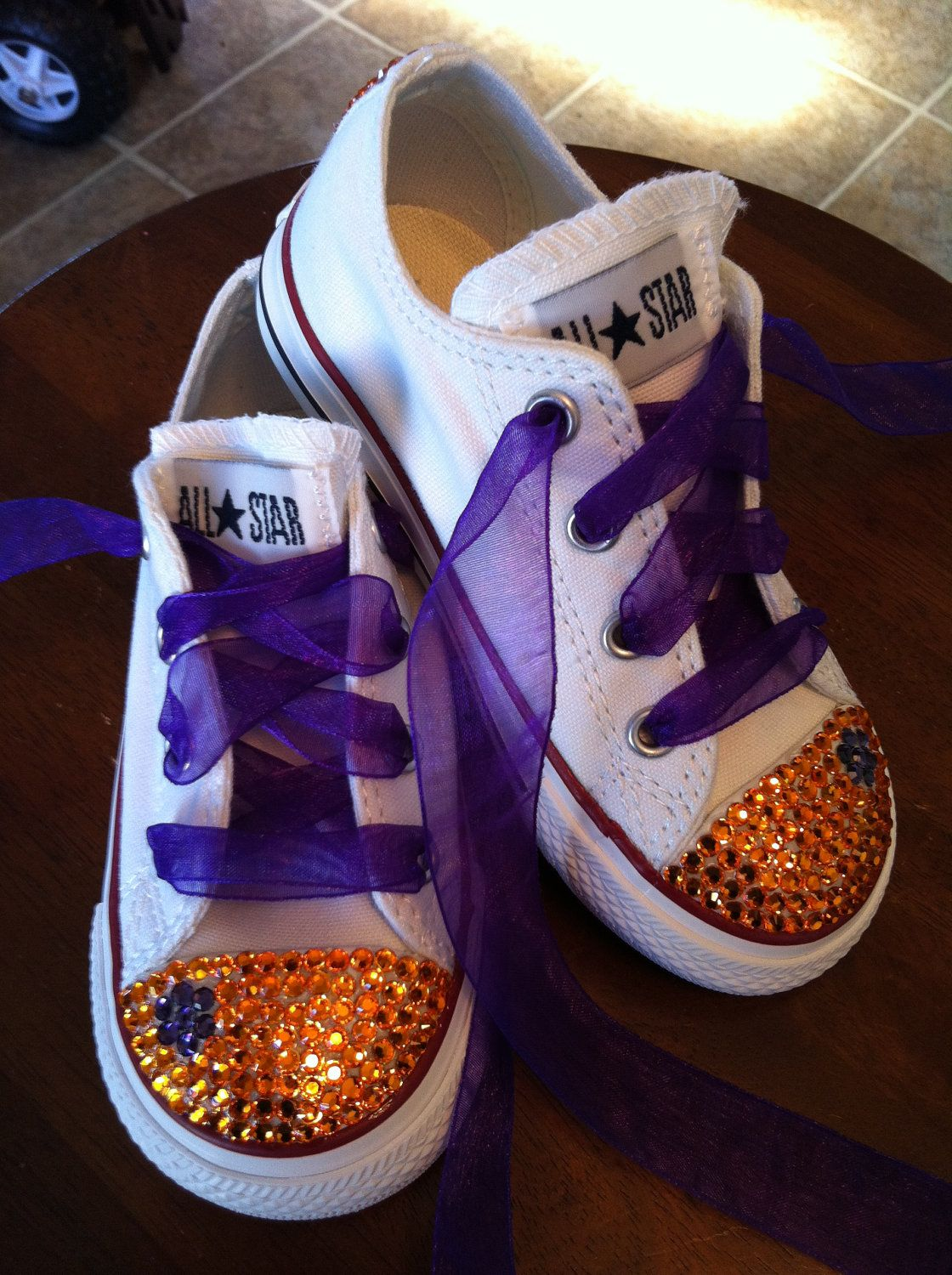 df711b1686a6 LAKERS colors bling convese chuck taylor sneakers.  67.00
