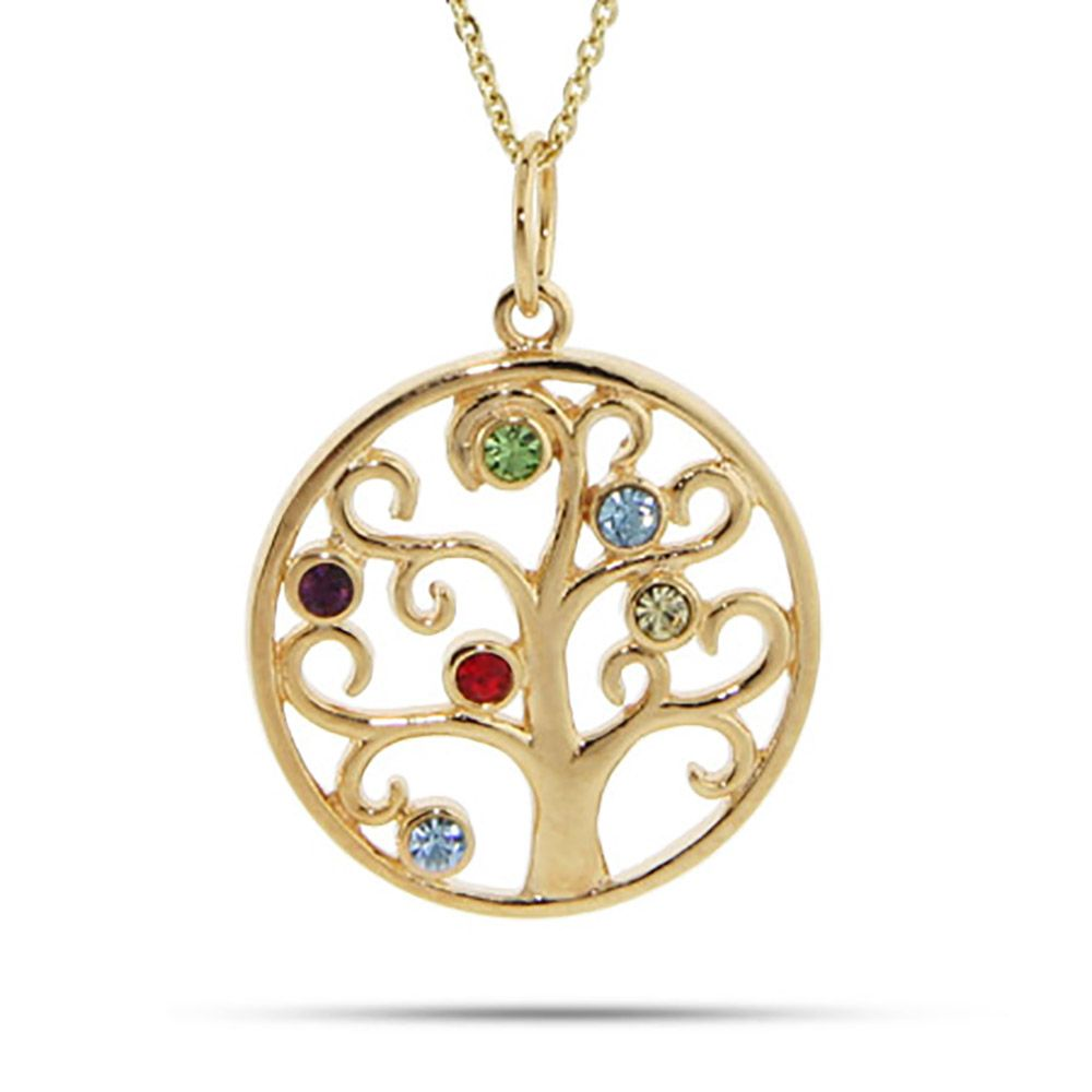 pendant birthstone tree necklace family product cube