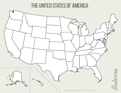 Map Of Us States Blank - Printable us state map blank