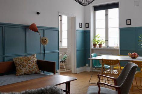 peinture des murs mi hauteur bleu et blanc d co pinterest peinture du hauteur et mur. Black Bedroom Furniture Sets. Home Design Ideas