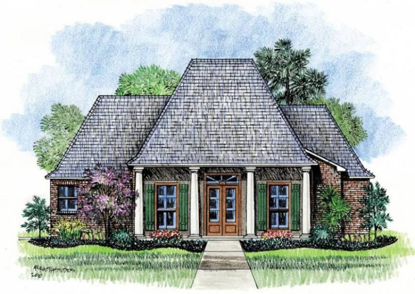 653448 - Acadian Style 4 Bedroom 2.5 House Plan : House Plans ...