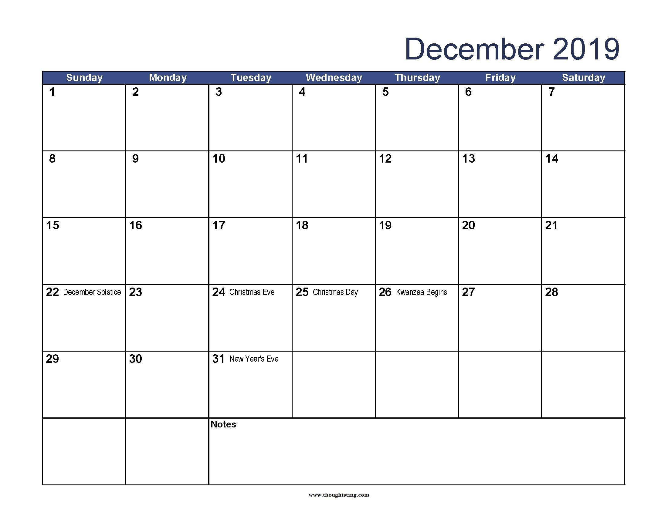 December 2019 Calendar With Holidays Usa, Australia, Uk