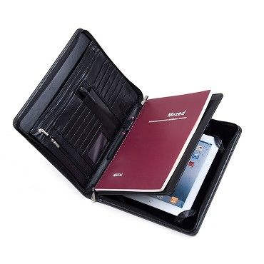 the latest f2453 b2148 Deluxe Leather iPad Folio Case with Notepad Space, Outside Pocket ...