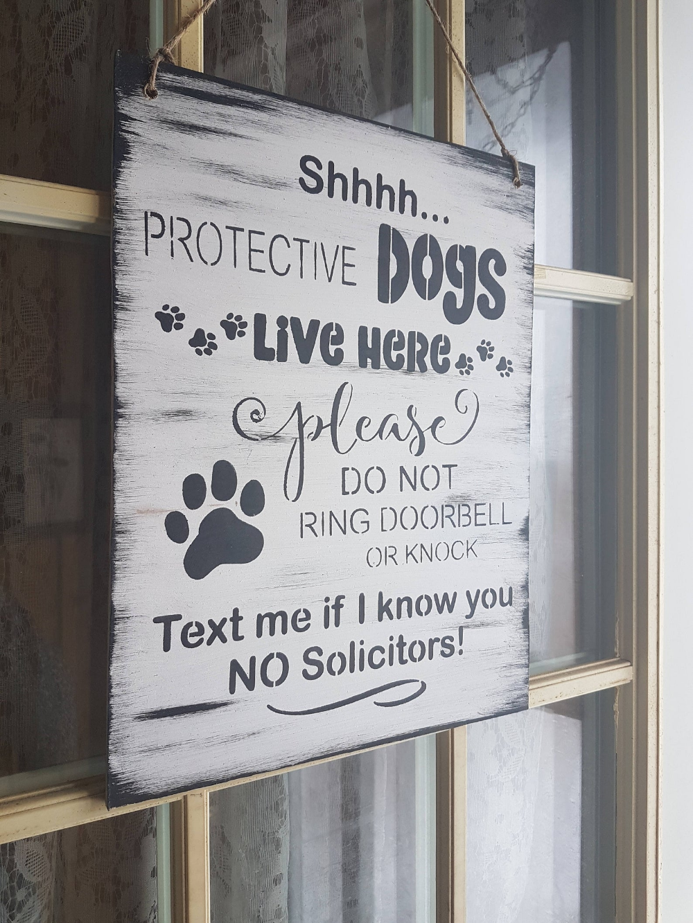 shh protective dogs sign no soliciting sign do not knock or ring doorbell text me no solicitors