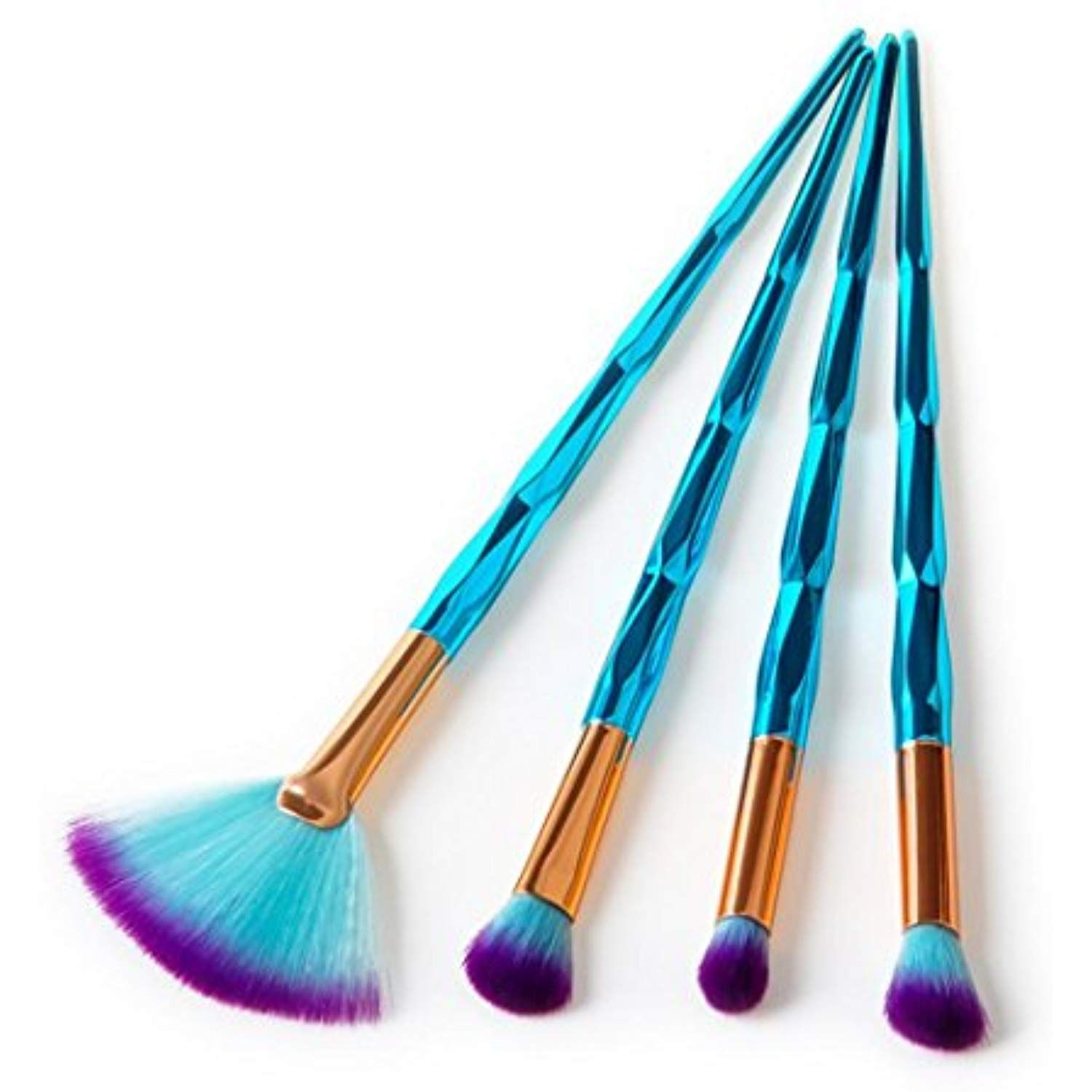 4PCs Toiletry Make up Brushes with Glitters Handle Set