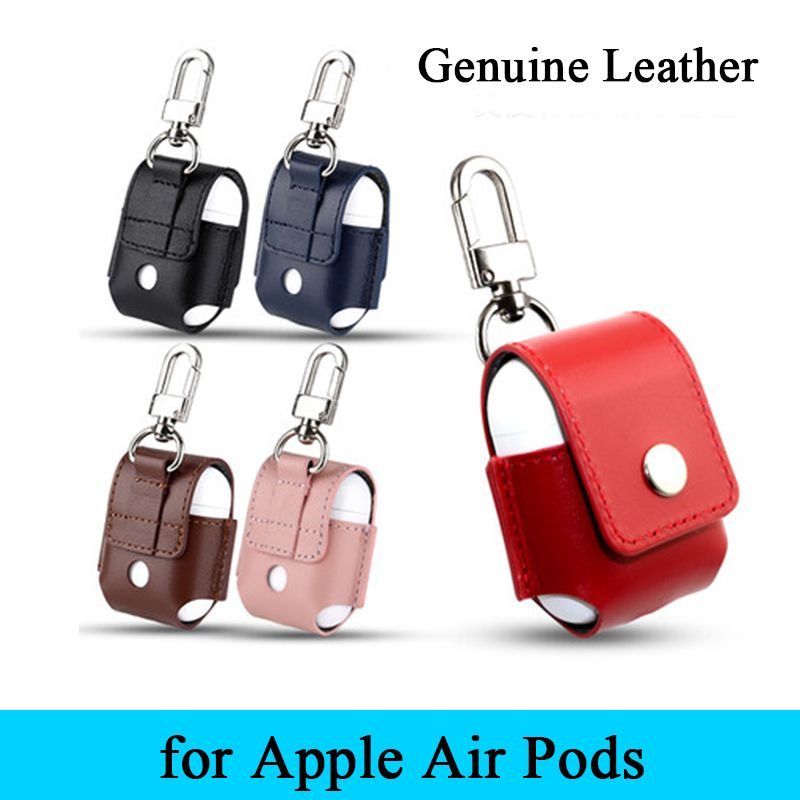 Genuine Leather Case For Apple Airpods Air Pods Protective Cover Pouch Anti Lost Protector Elegant Sleeve Fundas Accessor Leather Leather Pouch Genuine Leather