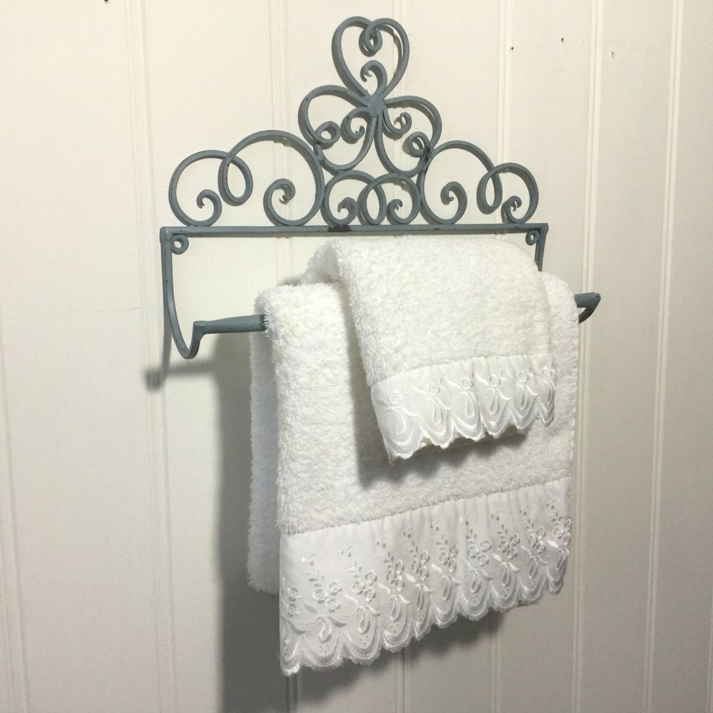 Shabby Chic Kitchen Roll Holder French Vintage Hand Towel Antique Grey Heart