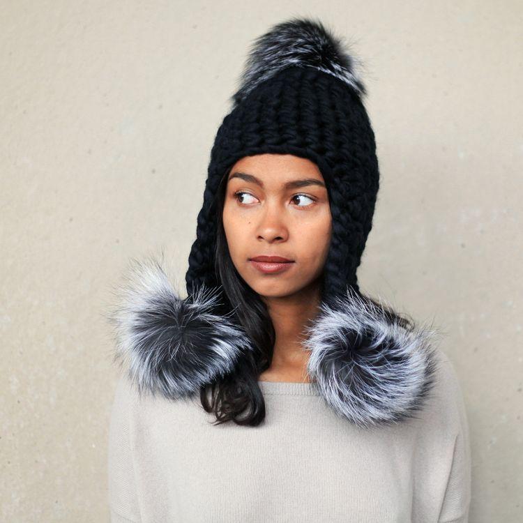 Black wool with triple silver fox fur poms. #TSKNY