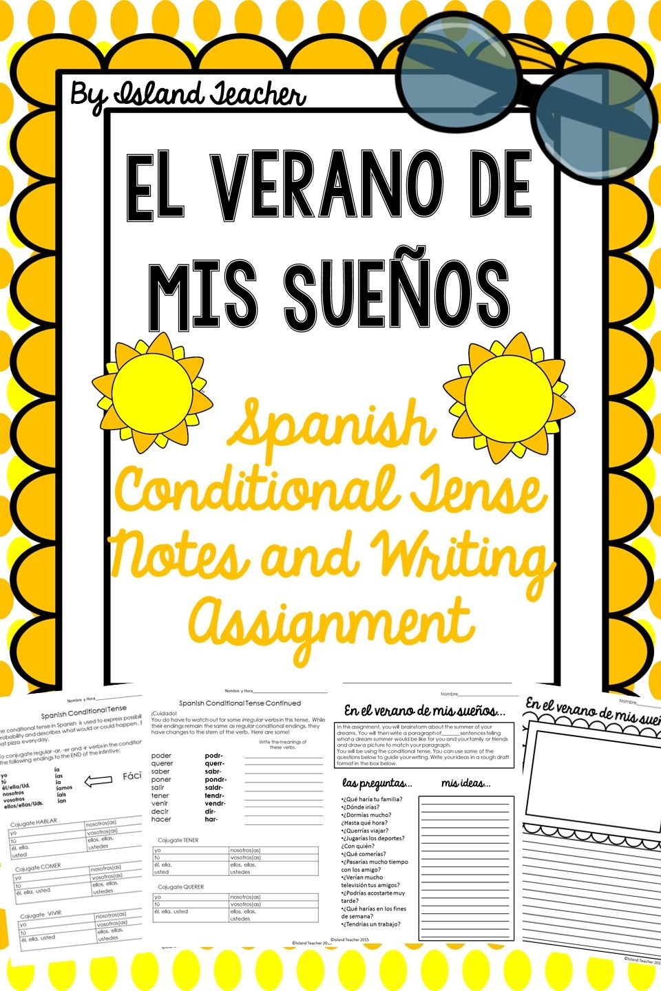 worksheet Conditional Tense Spanish Practice Worksheets spanish conditional notes and writing assignment el verano de mis practice conjugating in the tense then write about summer of my dreams