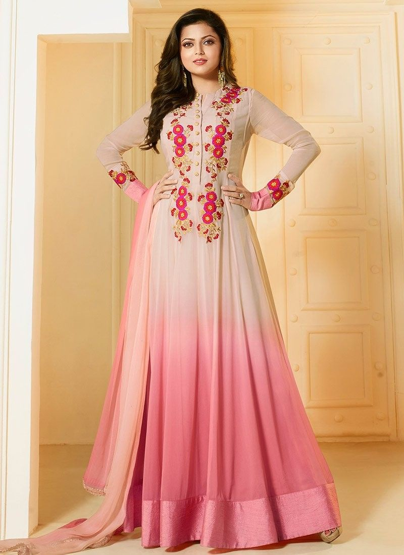 3ea4b020db Shop Drashti Dhami Beige and pink georgette party wear salwar kameez online  at…