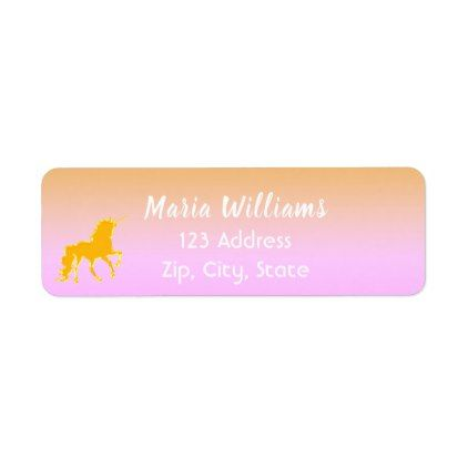 Unicorn on Pink and faux gold return address label Return address - Return Address Label Template