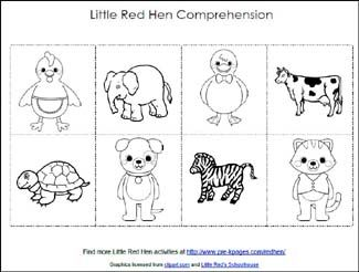 Soft image within the little red hen story printable